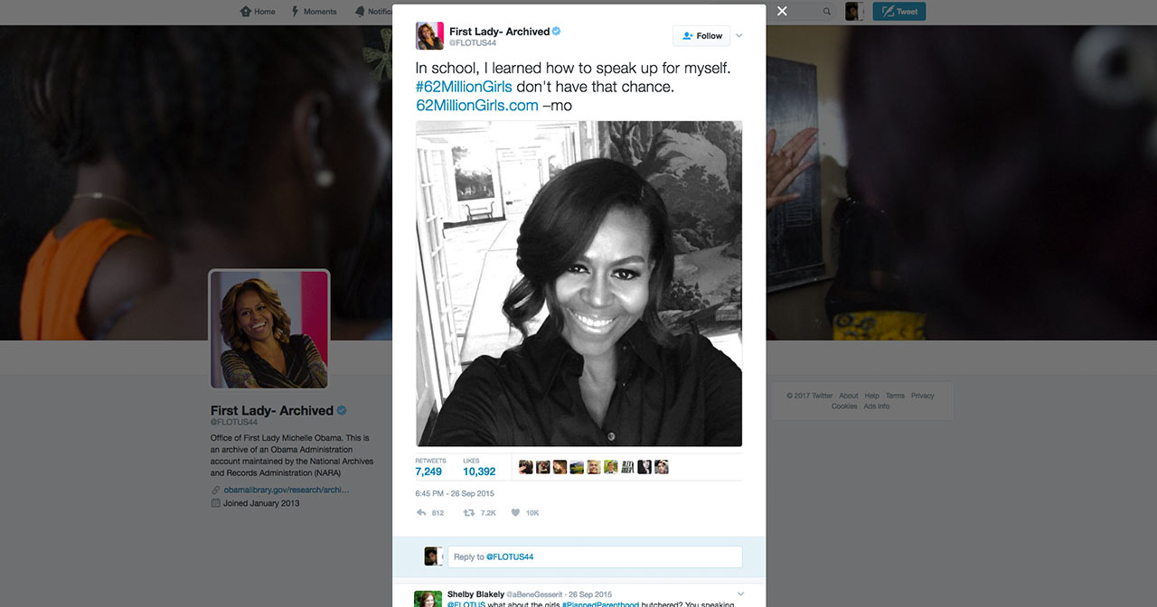 Michelle Obama's #62milliongirls twitter post.