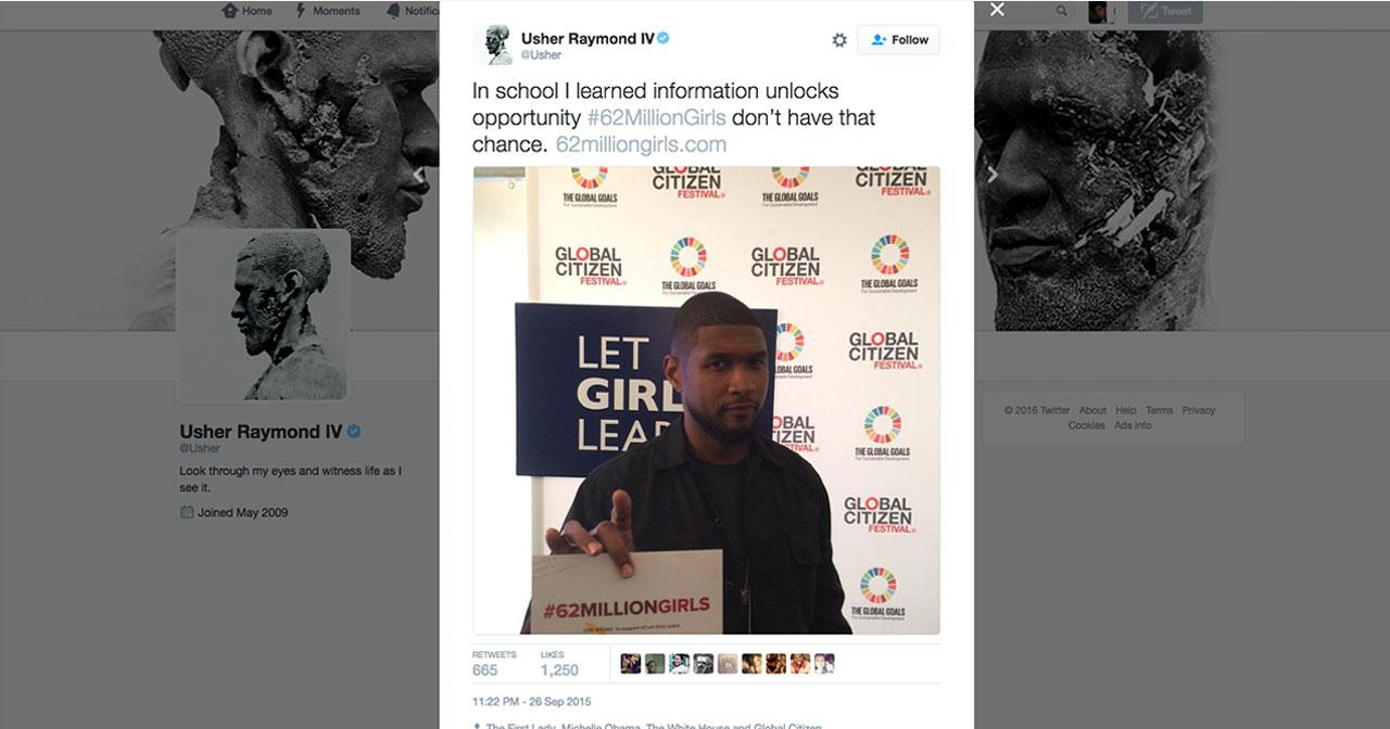 Usher Raymond's #62milliongirls twitter post.