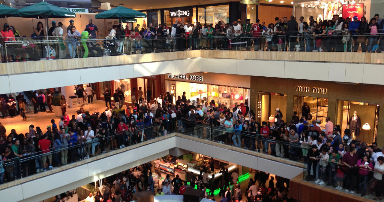 Three levels of very crowded floors at the Houston Galleria.