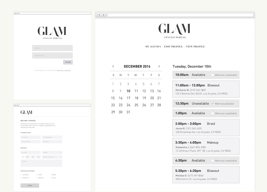 Wireframes of the Glam stylist portal (web)