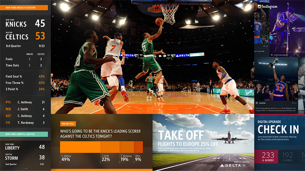 Large screen split into sections showing live NBA game, scores and stats, Instagram feeds, polls, and sweepstakes.