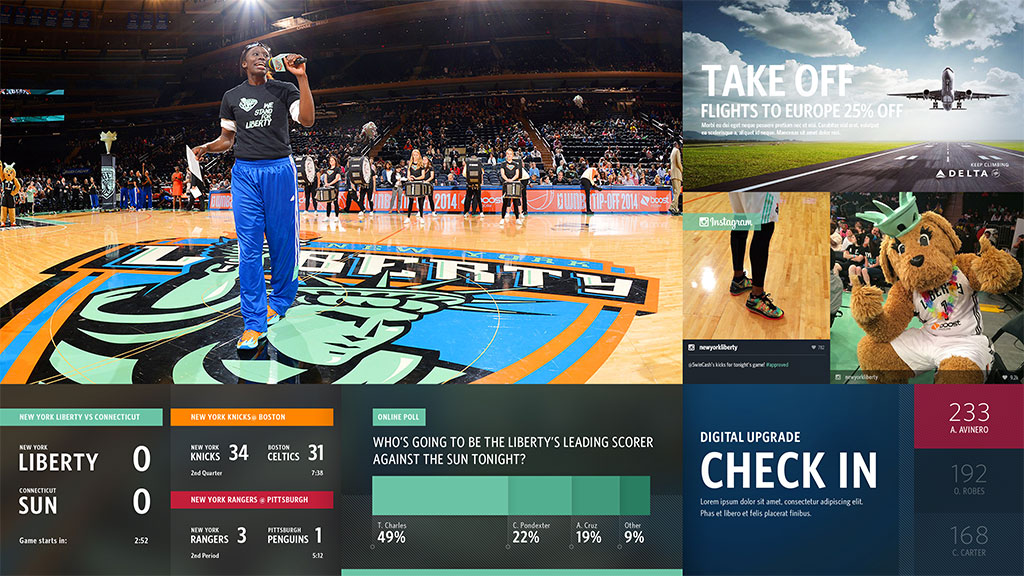 MSG Gateway screen showing WNBA pregame video feed, NBA scores, online poll, Instagram feed