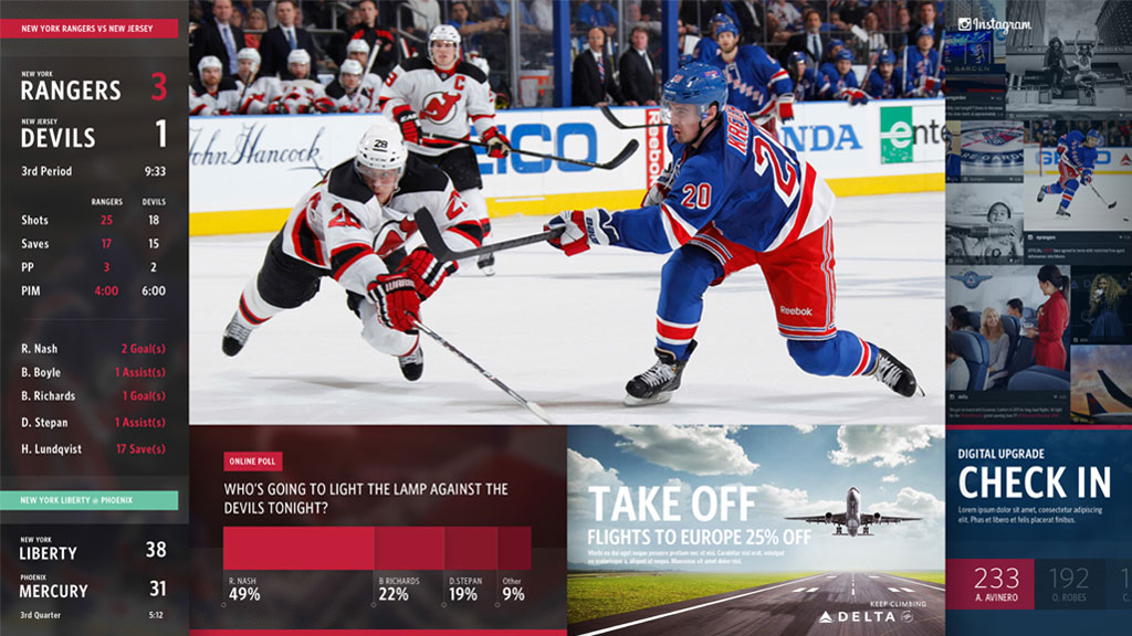 MSG Gateway screen showing NHL stats, live video, online poll, WNBA scores, Instagram feeds.