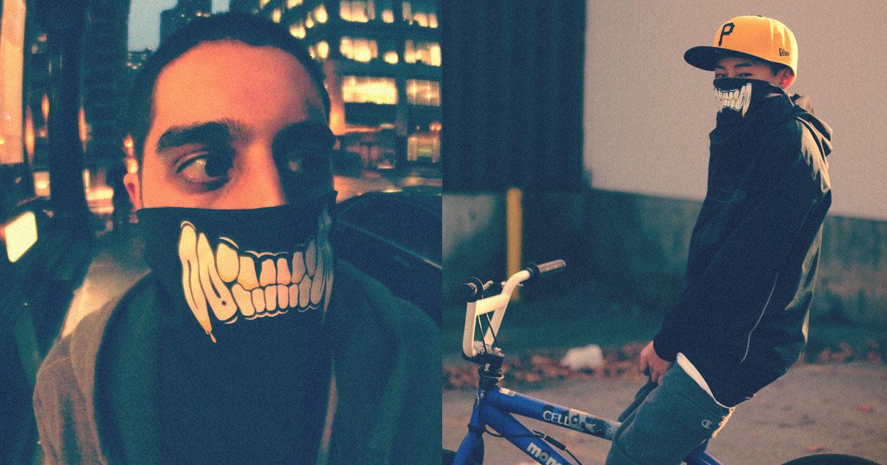 Two people wearing #zombiecat bandanas