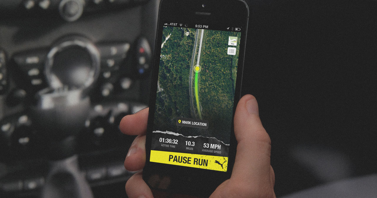 #zombiecat drive route app seen on a phone held in a car.