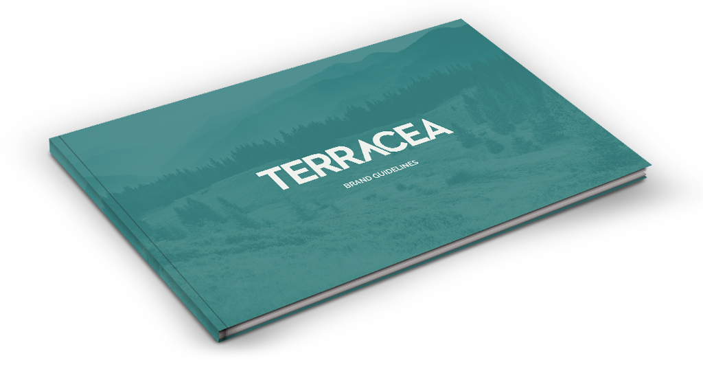 A thin book titled TERRACEA Brand Guidelines