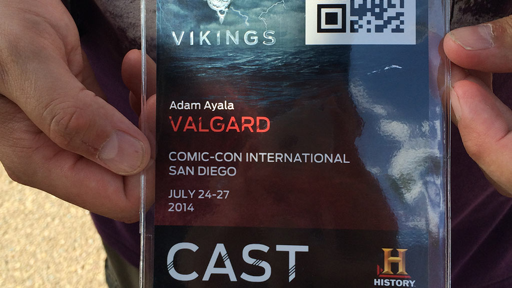 Close shot of a Vikings Cast ID at San Diego Comic Con